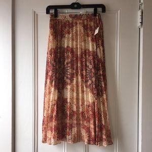 Anthropologie Pleated Print Skirt